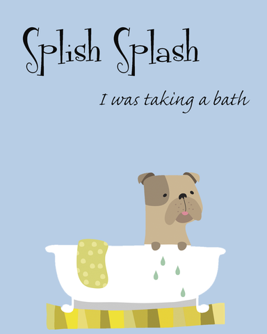 English Bulldog Wall Art - Splish Splash Blue 8x10