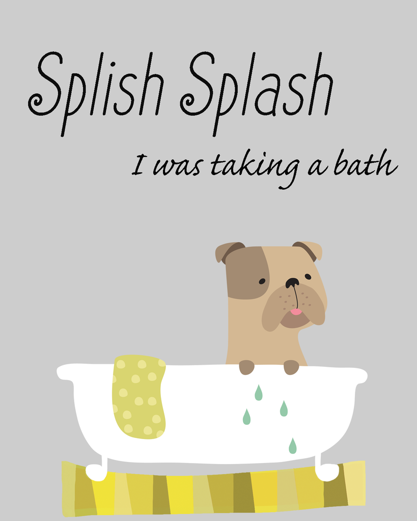 English Bulldog Wall Art - Splish Splash 8x10