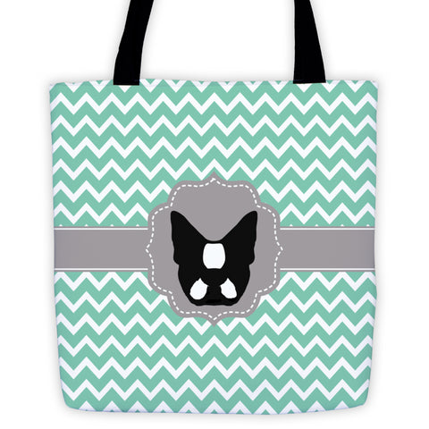 Mint Green Chevron Boston Terrier Tote