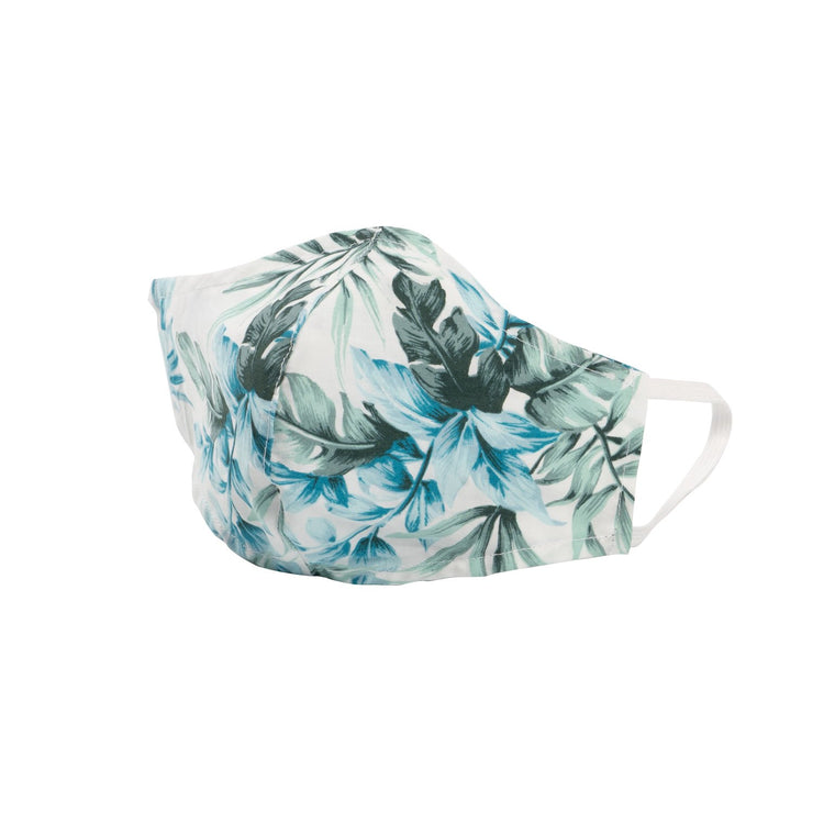 Adult Protective Face Mask - White Tropical Print