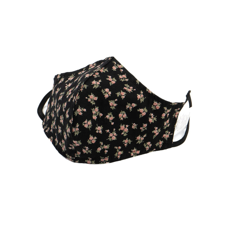 Adult Protective Face Mask - Black Floral Print