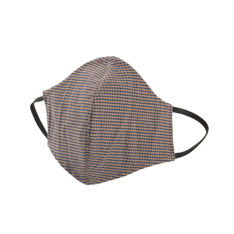Adult Protective Face Mask - Gingham Check Beige/Navy