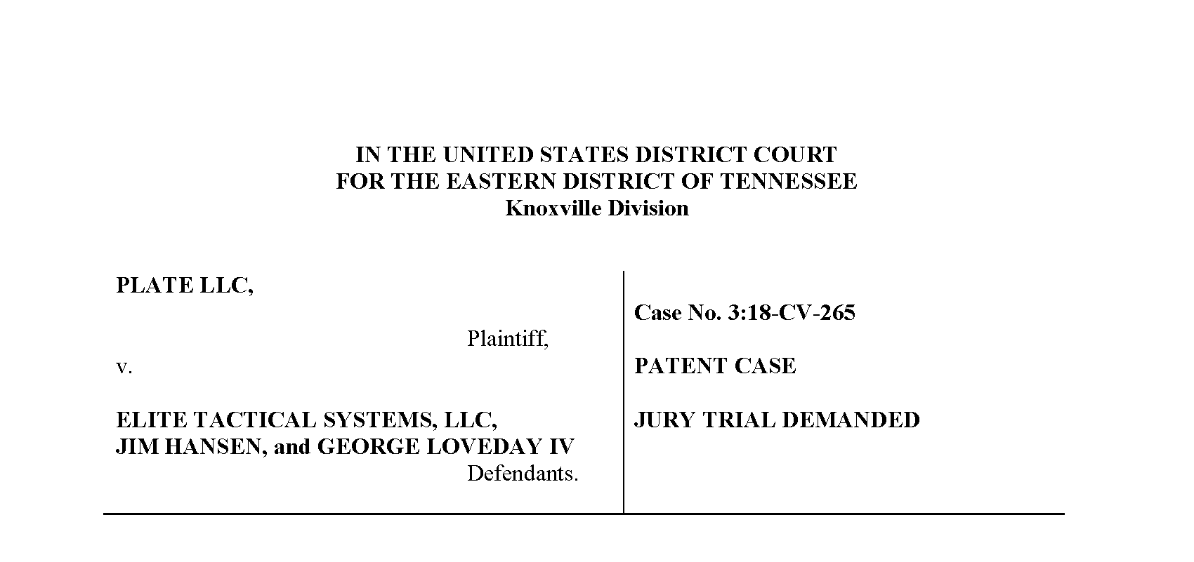 PLATE, LLC Announces Patent Infringement Lawsuit Against Elite Tactical Systems Group, LLC