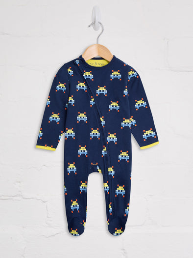Space Invader Zip Babygrow - cool baby clothes by lucy & sam