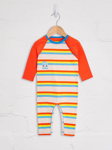 80's Stripe Milk Bottle Playsuit - cool baby clothes by lucy & sam