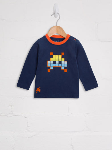 Space Invader Long Sleeve Tee - cool baby clothes by lucy & sam