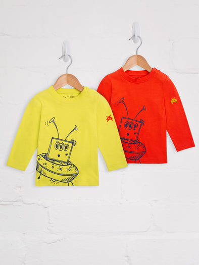 Alien 2 Pack Lime and Orange Tees - cool baby clothes by lucy & sam