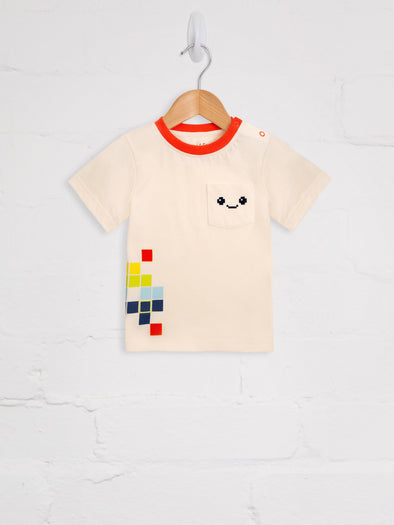 White Pixel Madness Tee - cool baby clothes by lucy & sam