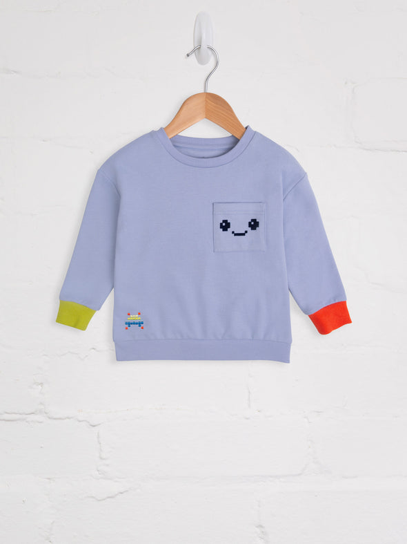 Blue Mauve Pixel Comfy Sweat - cool baby clothes by lucy & sam