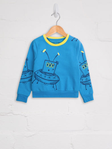 Turquoise Alien Sweat - cool baby clothes by lucy & sam