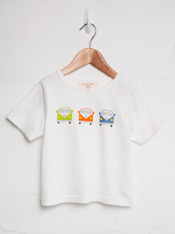 Camper van boys white short sleeve tee