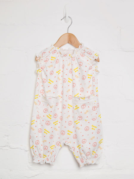 Summer love off white frill romper