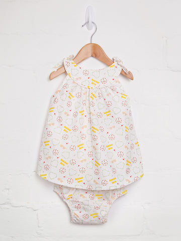 Girls summer love print dress and bloomer set