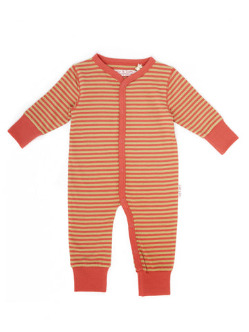 Lucy & Sam Khaki and Coral Button Down Sleepsuit