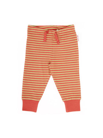 khaki and coral stripe baby leggings