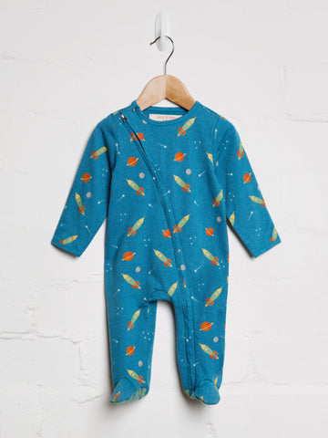 Space Rocket Zip Babygrow - cool baby clothes by lucy & sam