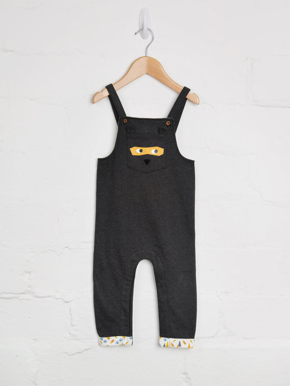 Charcoal Jersey Bear Dungarees - cool baby clothes by lucy & sam