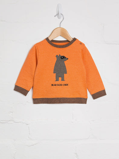 Orange Bear Faced Cheek Sweat - cool baby clothes by lucy & sam