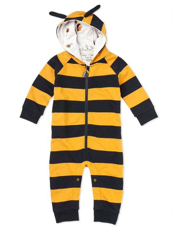 Hooded Striped Bee Romper - cool baby clothes by lucy & sam