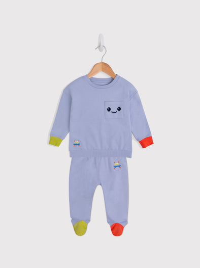 Blue Mauve Pixel Sweat and Leggings Set - cool baby clothes by lucy & sam