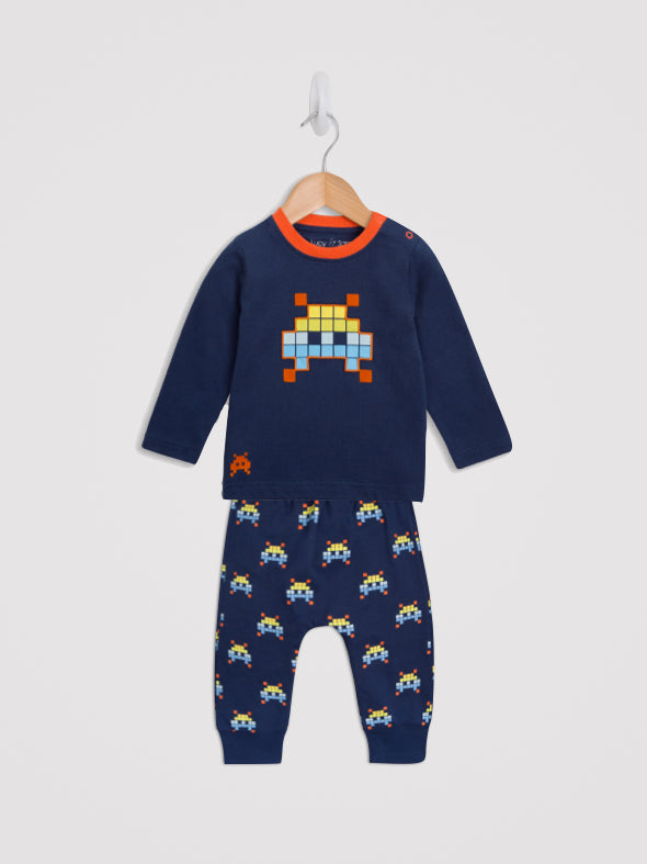 Space Invader Tee and Harem Jogger Set - cool baby clothes by lucy & sam