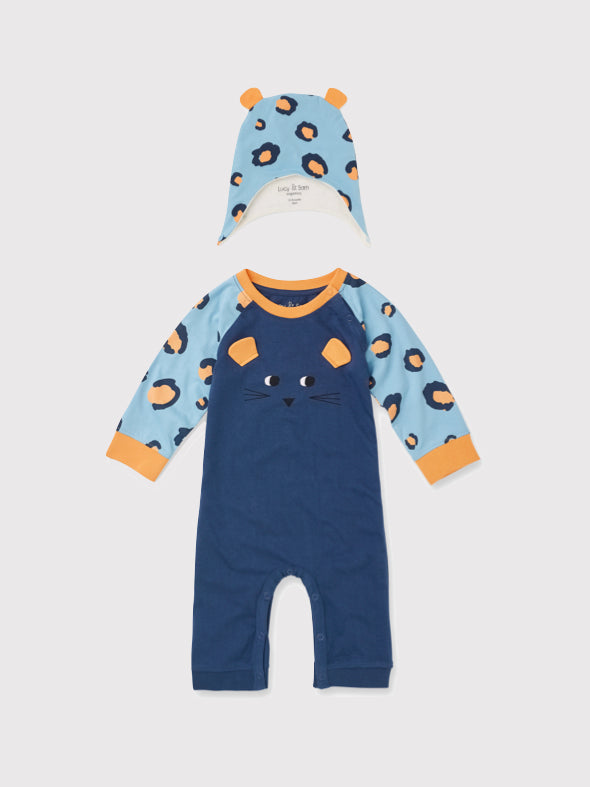 Spot The Leopard Playsuit and Hat Gift Set - cool baby clothes by lucy & sam