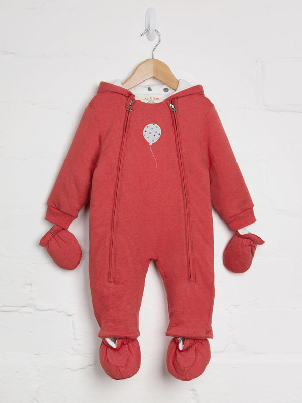 Red Marl Balloon Pramsuit - cool baby clothes by lucy & sam