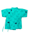 Lucy & Sam Turqoise baby and kids pufferfish organic  kimono and shorts set