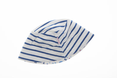 White Stripe-Nautical Print Reversible Bucket Hat - cool baby clothes by lucy & sam