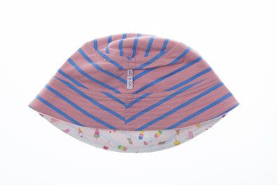 Peach Stripe-Ice Cream Print Reversible Bucket Hat - cool baby clothes by lucy & sam