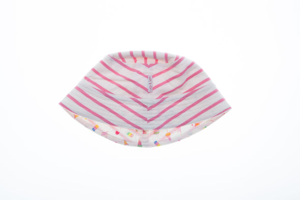 White Baby Pink Stripe-Ice Cream Print Reversible Bucket Hat - cool baby clothes by lucy & sam