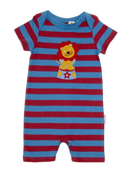 Red and blue stripe lion summer baby boy romper