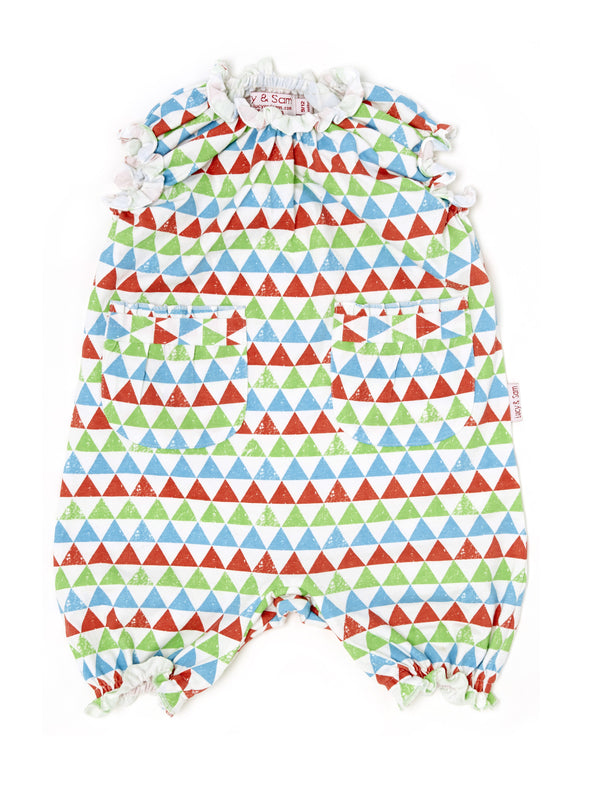 Triangle Print Frill Romper - cool baby clothes by lucy & sam