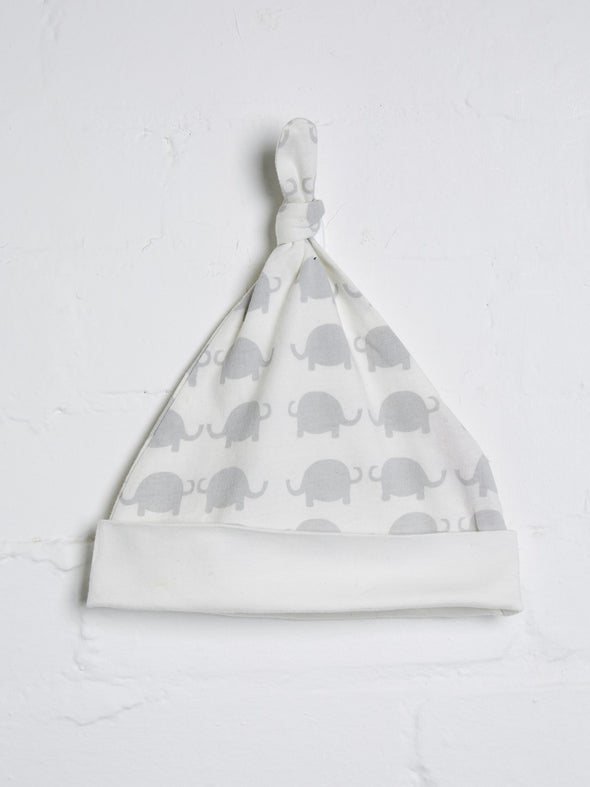 Unisex elephant print off white knotted hat