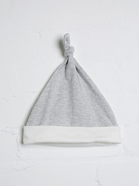 Grey Marl Stripe Knotted Hat - cool baby clothes by lucy & sam