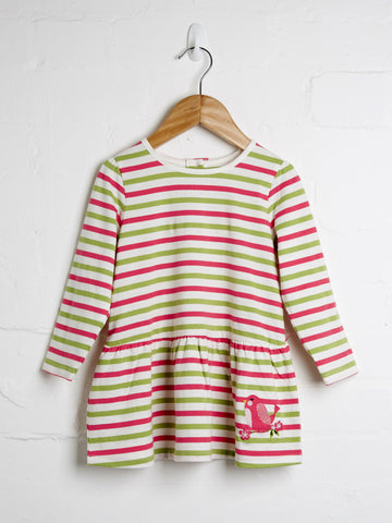 Stripe pink and green girls jeresy dress