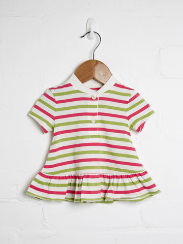 Girls pink and green stripe frill top