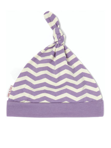 Purple and cream chevron knotted baby hat
