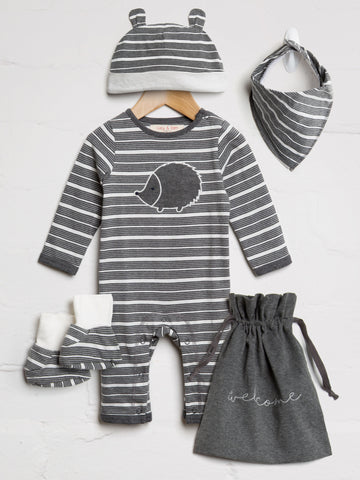 Unisex Charcaol Stripe Baby Bundle - cool baby clothes by lucy & sam