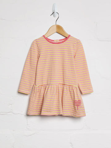 Autumn Stripe Dress Flocked Heart - cool baby clothes by lucy & sam