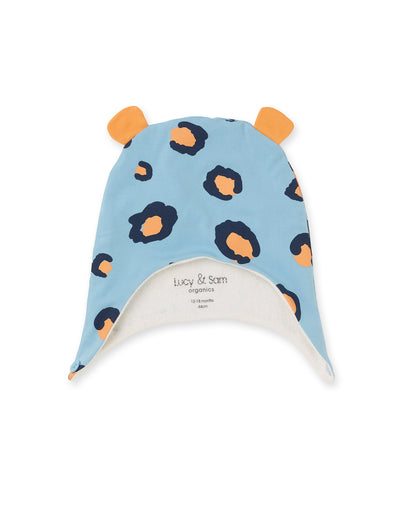 Light Blue Leopard Trapper Hat