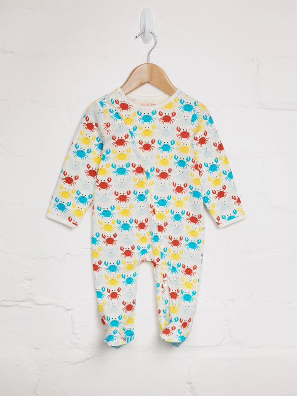 Happy Crab Zip Babygrow - cool baby clothes by lucy & sam