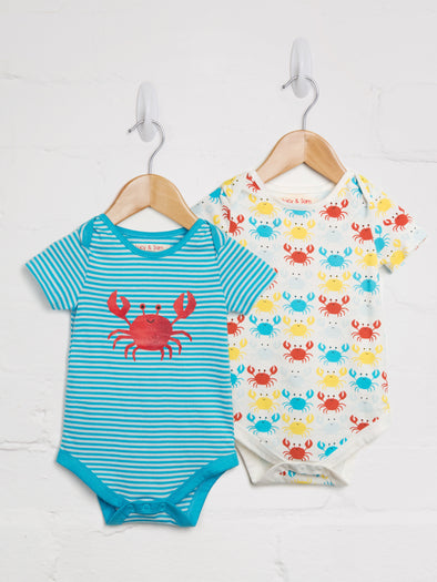Happy Crab 2 Pack Bodysuit - cool baby clothes by lucy & sam
