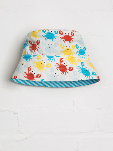 Happy Crab Reversible Bucket Hat - cool baby clothes by lucy & sam