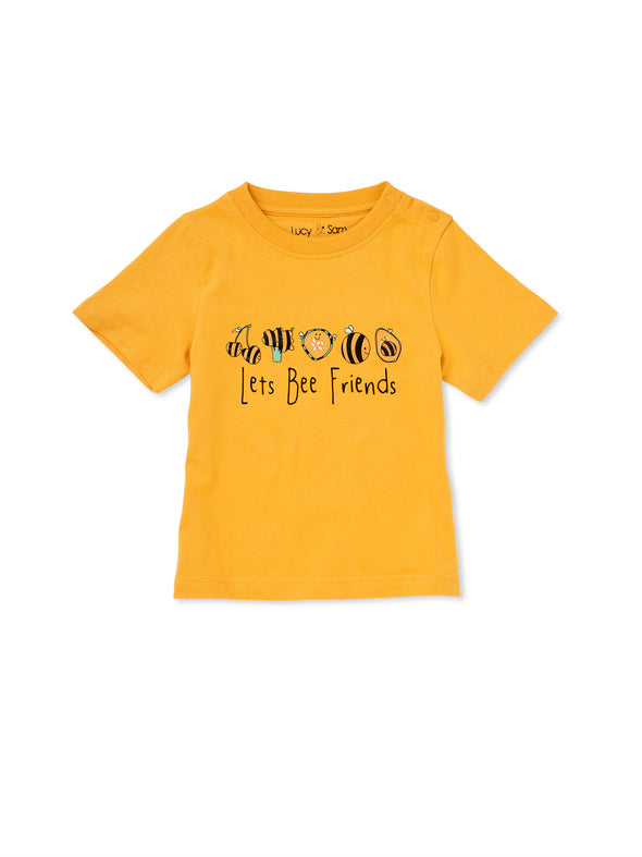 Let's Bee Friends Mustard Tee - cool baby clothes by lucy & sam