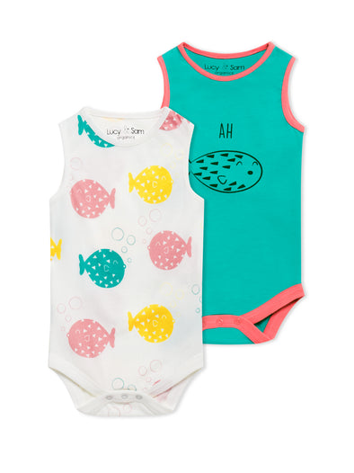 Lucy & Sam colourful 2 pack organic bodysuits
