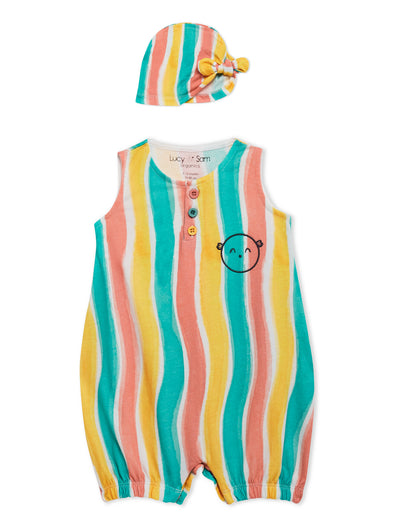 Lucy & Sam colourful stripe baby romper and hat