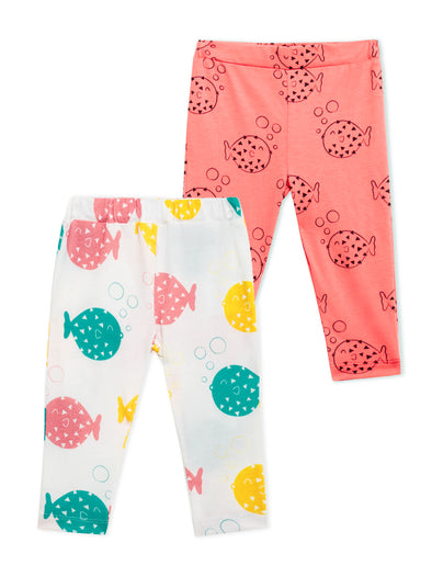 Lucy & Sam Colourful 2 pack organic leggings