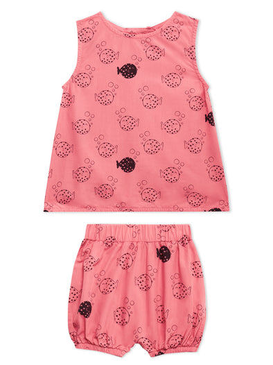 Lucy & Sam Coral and turqoise baby and kids organic vest and shorts