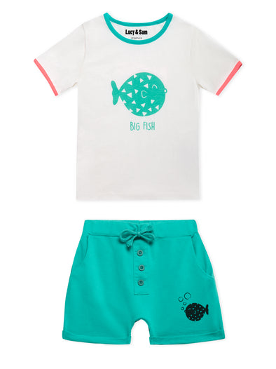Lucy & Sam White and turqoise pufferfish t shirt and shorts